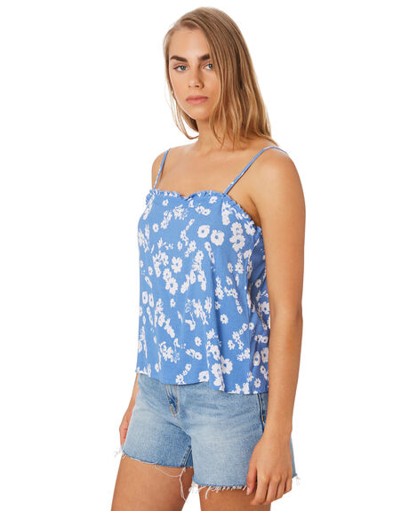 BLUE FLORAL WOMENS CLOTHING ELWOOD FASHION TOPS - W94323H91