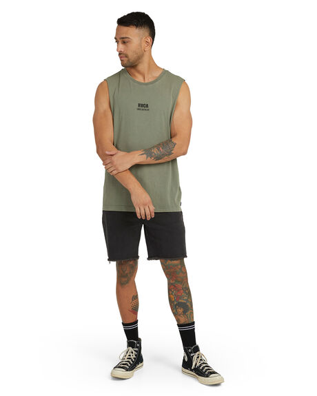 ICE GREEN MENS CLOTHING RVCA SINGLETS - R118008-ICG
