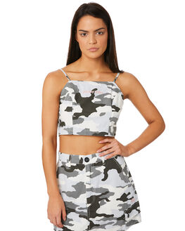 WHITE CAMO WOMENS CLOTHING STUSSY FASHION TOPS - ST183209WHI