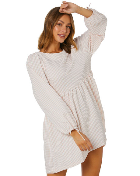 NATURAL CHECK WOMENS CLOTHING SWELL DRESSES - S8213441NCH