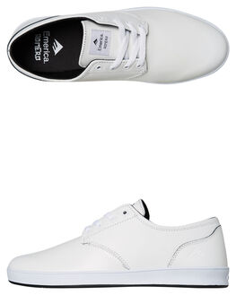 WHITE BLACK MENS FOOTWEAR EMERICA SKATE SHOES - 6102000089110