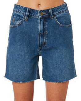 RINSED BLUE WOMENS CLOTHING THRILLS SHORTS - WTDP-315RBBLUE