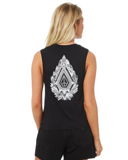 BLACK WOMENS CLOTHING VOLCOM SINGLETS - B3531875BLK