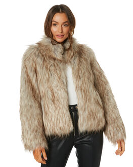 NATURAL WOMENS CLOTHING UNREAL FUR JACKETS - URF8100035NAT