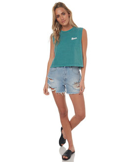 LCD GREEN WOMENS CLOTHING RVCA SINGLETS - R272667667