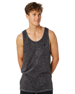 BLACK ACID WASH MENS CLOTHING AFENDS SINGLETS - M184082BLKAC
