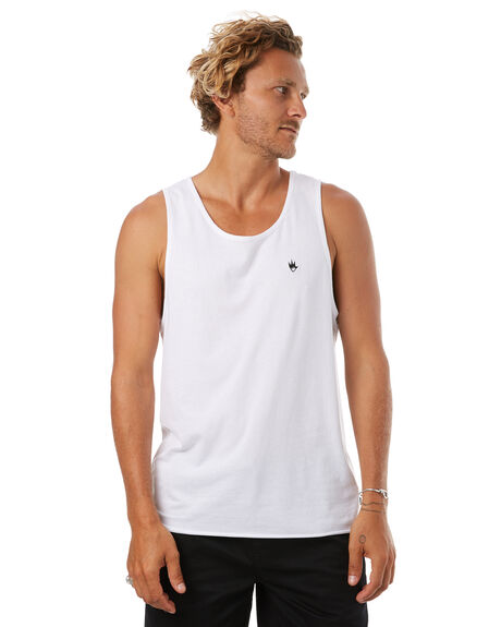 WHITE MENS CLOTHING AFENDS SINGLETS - 03-01-104WHT