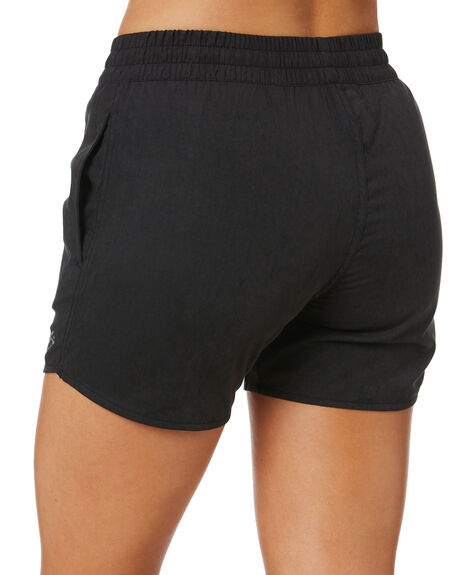 BLACK WOMENS CLOTHING RUSTY SHORTS - BSL0378BLK
