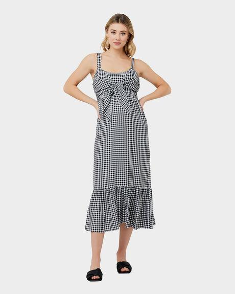 BLACK WHITE WOMENS CLOTHING RIPE MATERNITY DRESSES - S1233-BKWHITE-XS
