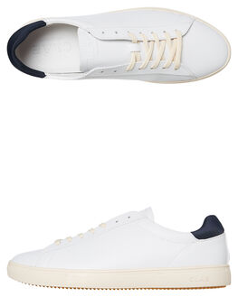 WHITE LEATHER MENS FOOTWEAR CLAE SNEAKERS - CLA01297WHL