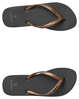 BLACK ROSE GOLD WOMENS FOOTWEAR KUSTOM THONGS - 4627219BBRGLD