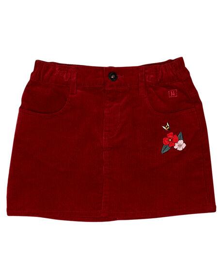 RUST RED KIDS GIRLS MUNSTER KIDS SHORTS + SKIRTS - MM182SK02RED