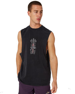 BLACK MENS CLOTHING RUSTY SINGLETS - MSM0236BLK