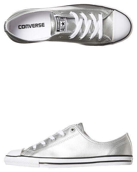 SILVER BLACK WHITE WOMENS FOOTWEAR CONVERSE SNEAKERS - 553336SIL
