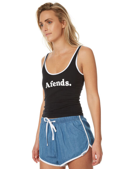 BLACK WOMENS CLOTHING AFENDS SINGLETS - 50-06-018BLACK