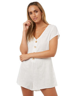 WHITE WOMENS CLOTHING REVERSE PLAYSUITS + OVERALLS - 4010-2WHT