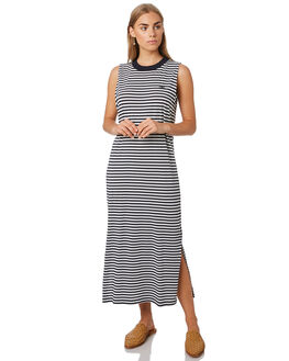 NAVY WHITE STRIPE WOMENS CLOTHING C&M CAMILLA AND MARC DRESSES - WCMD1626NVWH