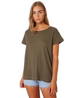 OLIVE NIGHT WOMENS CLOTHING THRILLS TEES - WTS9-116FOLV