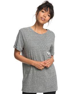 CHARCOAL HEATHER WOMENS CLOTHING ROXY TEES - ERJZT04325KTAH