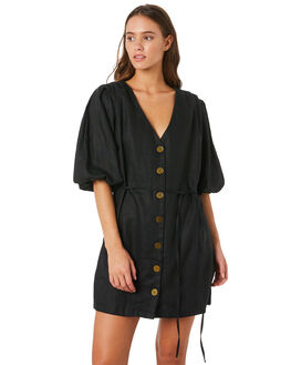 BLACK LINEN WOMENS CLOTHING MLM LABEL DRESSES - MLM528BBLK