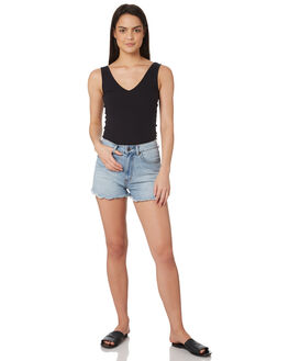 BLACK WOMENS CLOTHING ALL ABOUT EVE SINGLETS - 6405129BLK