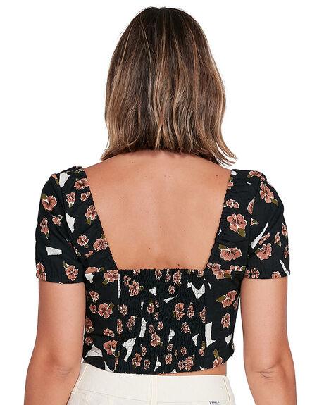 BLACK WOMENS CLOTHING RVCA FASHION TOPS - RV-R406182-BLK