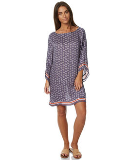 MACHINE BLUE WOMENS CLOTHING RUSTY DRESSES - DRL0853MBLU