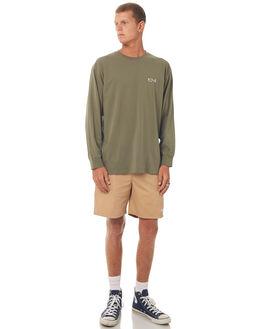 DUSTY OLIVE GREEN MENS CLOTHING POLAR SKATE CO. TEES - SCRIPTLSTDOLV