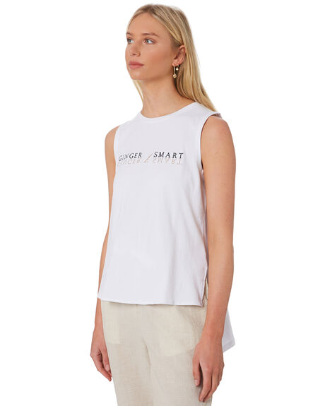 WHITE WOMENS CLOTHING GINGER AND SMART SINGLETS - S20120WHT
