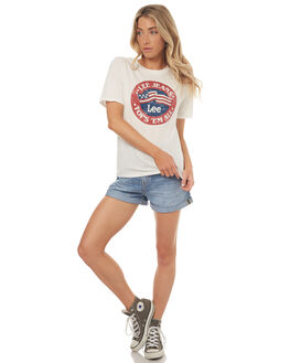 WHITE WOMENS CLOTHING LEE TEES - L-651507-066WHT