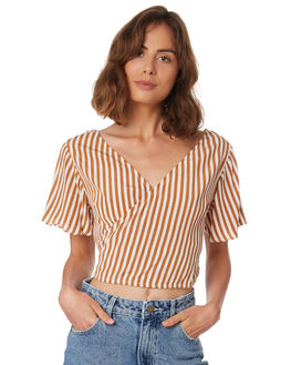 GOLD STRIPE WOMENS CLOTHING RUE STIIC FASHION TOPS - WS18-39-GP-FGLDS