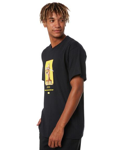BLACK MENS CLOTHING HUF TEES - TS01536-BLACK
