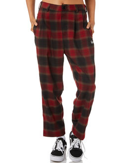 RED WOMENS CLOTHING STUSSY PANTS - ST195626RED