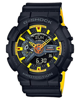 BLACK YELLOW MENS ACCESSORIES G SHOCK WATCHES - GA110BY-1ABLKYW