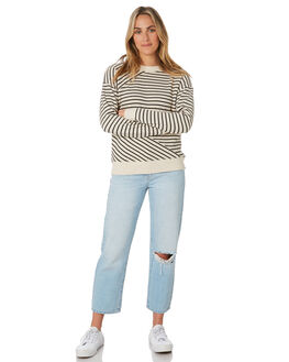 OATMEAL STRIPE WOMENS CLOTHING O'NEILL JUMPERS - 5921503-OAS
