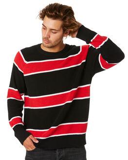 RED BLACK STRIPE MENS CLOTHING NEUW KNITS + CARDIGANS - 336035090