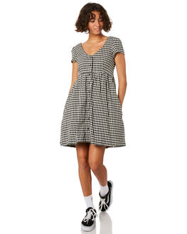 BLACK PLAID WOMENS CLOTHING VOLCOM DRESSES - B1311915BLP