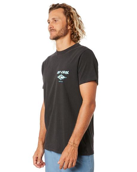 WASHED BLACK MENS CLOTHING RIP CURL TEES - CTEMW98264