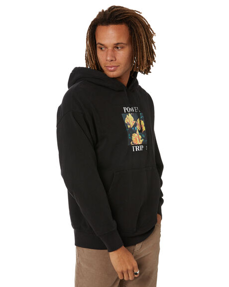 BLACK MENS CLOTHING THRILLS HOODIES + SWEATS - TW21-228BBLK