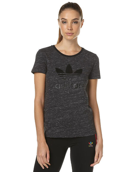 DARK GREY HEATHER WOMENS CLOTHING ADIDAS ORIGINALS TEES - AY7904GRY