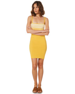 YELLOW WHITE WOMENS CLOTHING MINKPINK DRESSES - MP1806850YEL
