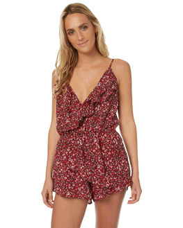 RED FLORAL WOMENS CLOTHING REVERSE PLAYSUITS + OVERALLS - 425RED