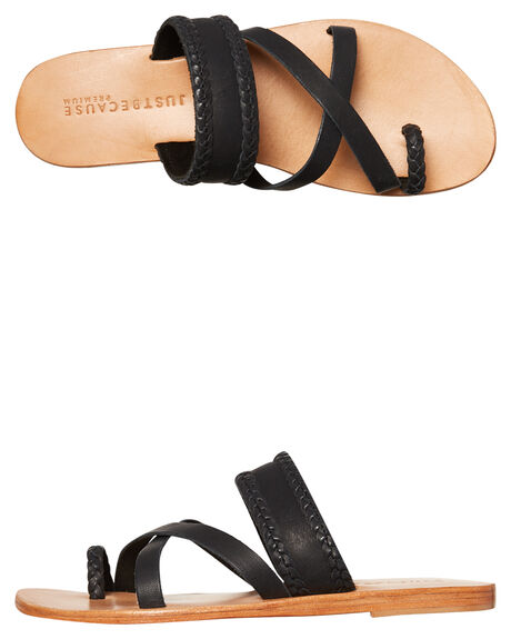 BLACK WOMENS FOOTWEAR JUST BECAUSE FASHION SANDALS - SOLE1188BLK