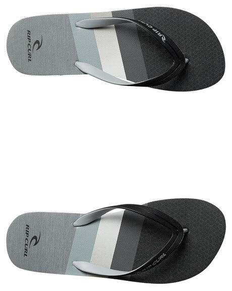 BLACK GREY MENS FOOTWEAR RIP CURL THONGS - TCTE762104