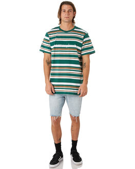 GREEN BROWN WHITE MENS CLOTHING LOWER TEES - LO19Q3MTS17GBW
