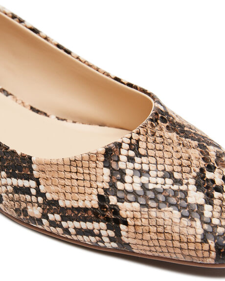 TAUPE SNAKE OUTLET WOMENS THERAPY HEELS - 10543TSNK