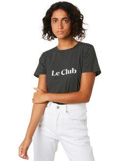 BLACK STRIPE WOMENS CLOTHING COOLS CLUB TEES - 103-CW2BLKS