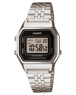 SILVER BLACK WOMENS ACCESSORIES CASIO WATCHES - LA680WA-1DSLVBK