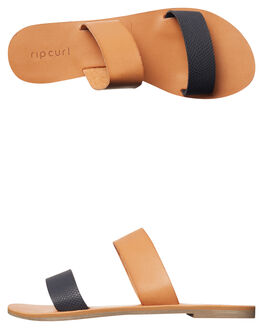 BLACK TAN WOMENS FOOTWEAR RIP CURL SLIDES - TGTCY95140