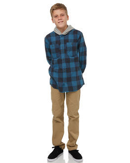 REAL TEAL MOTHERFLY KIDS BOYS QUIKSILVER SHIRTS - EQBWT03205BPR1
